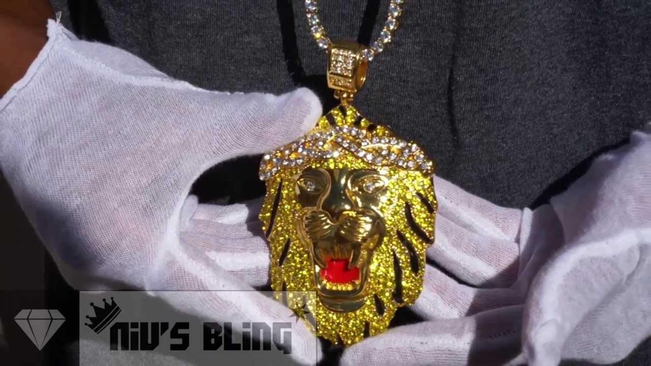 Iced out big sean lion pendant 14k gold nivs bling youtube mozeypictures Image collections