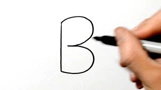 How to Draw a Bear after Writing Alphabet Letter B - LetterToons