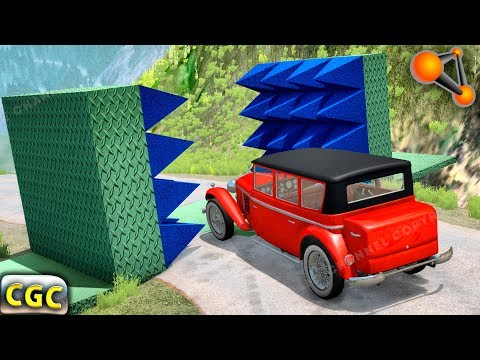 BeamNG Drive Giant Spike Wall Cars Smasher #2