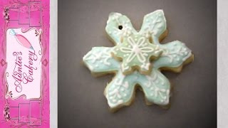 Snowflake Sugar Cookie Ornament Decorated With Royal Icing