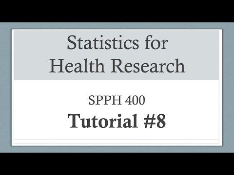 Statistics For Health Research Tutorial 8: ANOVA And Bonferroni Correction