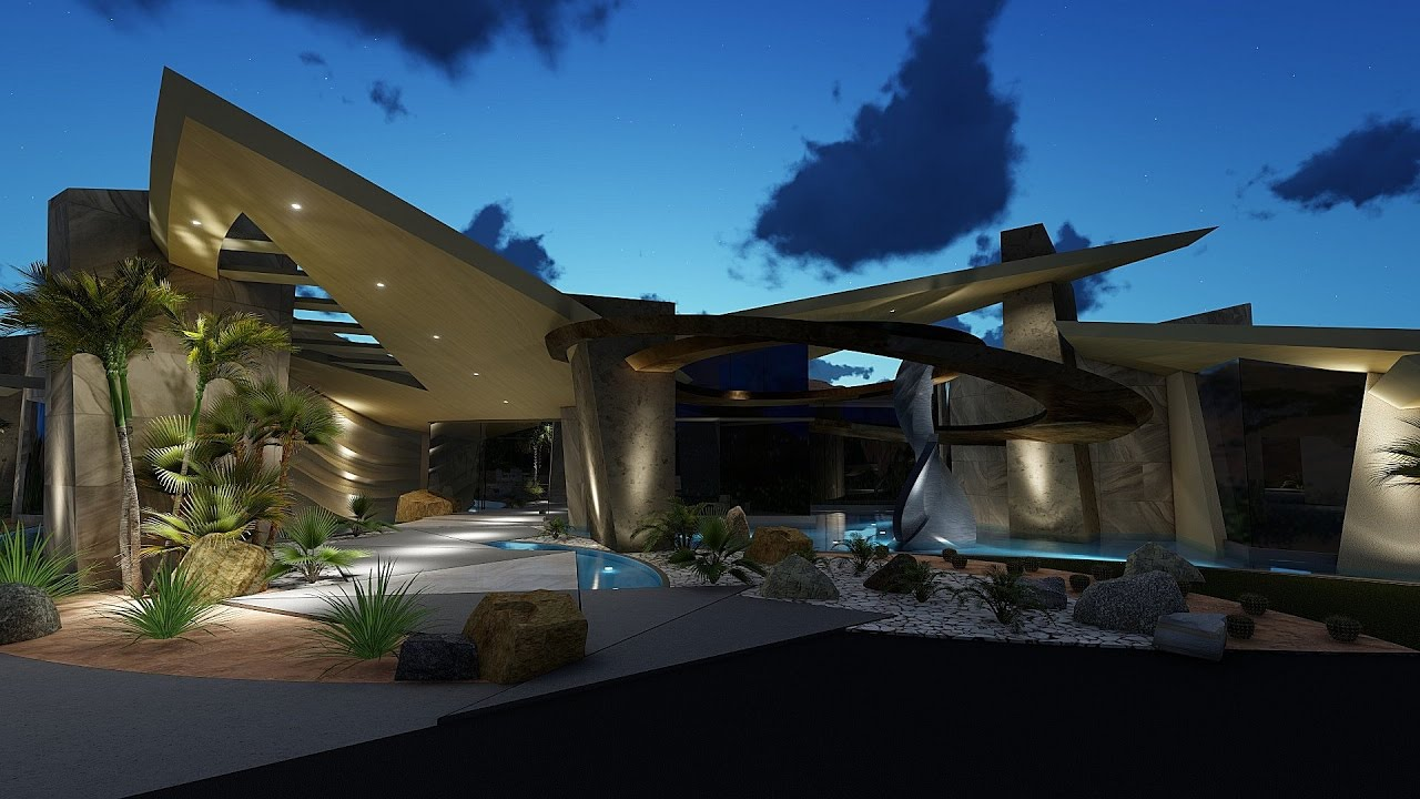 Modern house design with bold circles and curves brian for Design house architecture hamilton