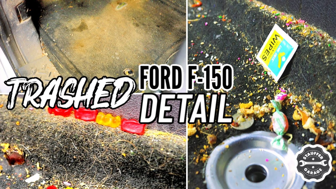 Detailing A Dirty Farmers Ford F-150 Truck! Complete Disaster Trashed Interior Car Detail!