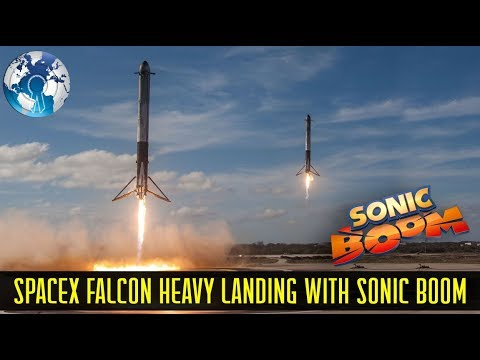 FALCON HEAVY Spectacular Takeoff and Landing with Super SONIC BOOM SpaceX