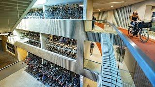 Worlds Largest Underground Bicycle Parking Garage - 3 Stories, 12,656 Parking Spaces