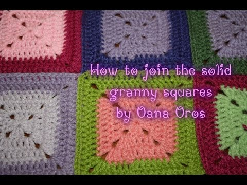 solid granny squares- joining as you go - YouTube