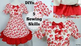 DIYS: 5 Sewing Skills:Sew Puffy Short Sleeves,Collar,Ruffle,Zipper, more+Clothes Transformation