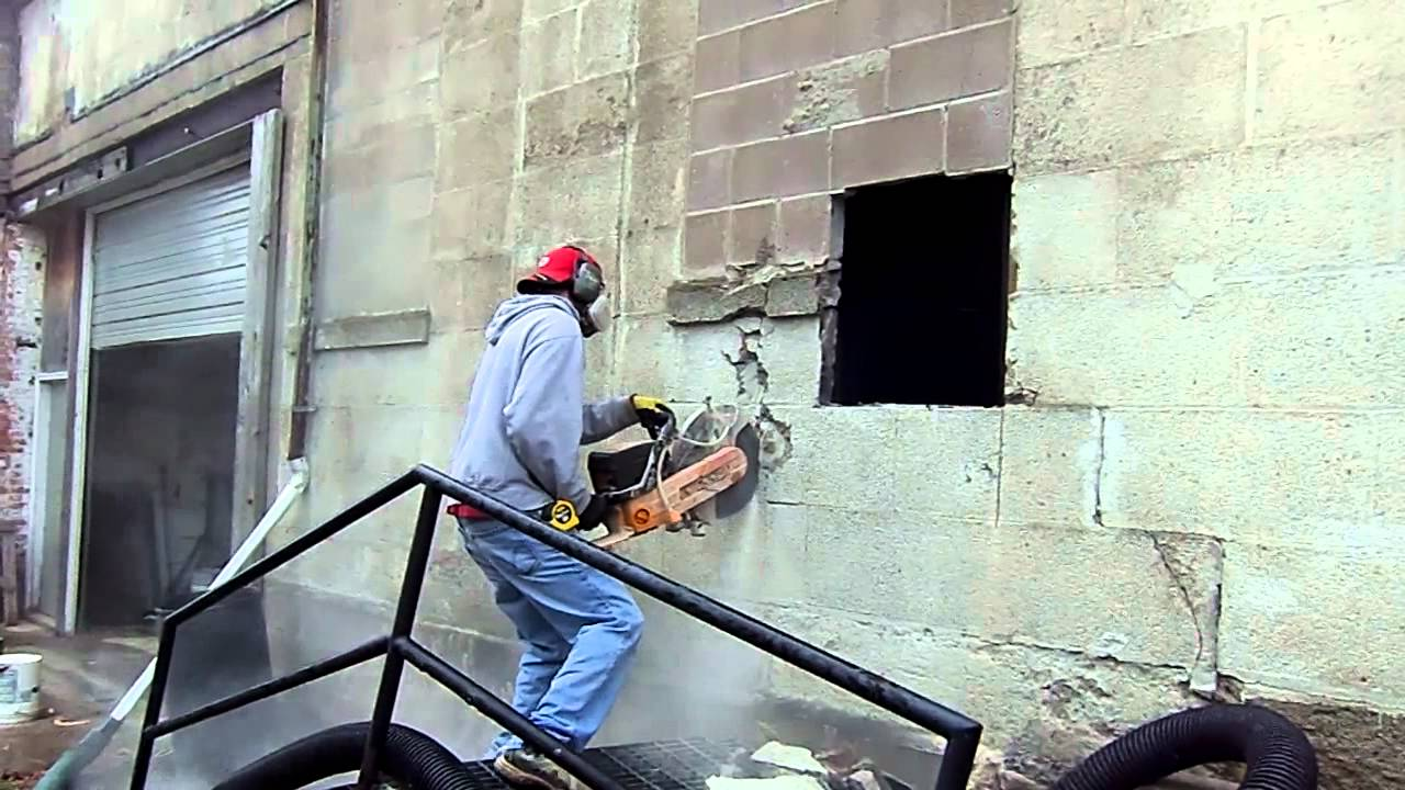 Cutting Concrete Wall With A Partner Saw Youtube