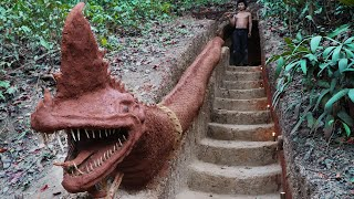 Build Sculpture Dragon And Stairs To Underground House With Fish Ponds On The Cliff