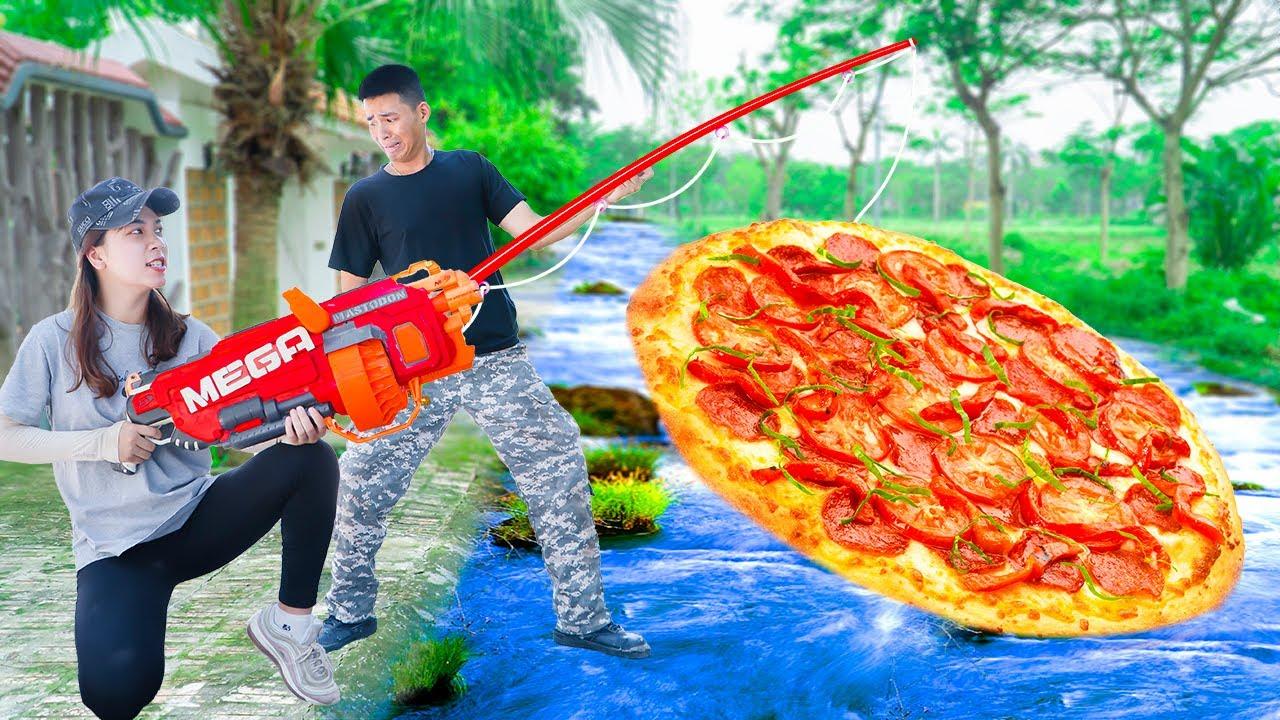 Battle Nerf War ZITMAN Fishing PIZZA NERF & COMPETITION Nerf Guns Fight JMan Delivery PIZZA CAKE