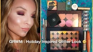 GRWM : Warm Holiday Inspired Look : Makeup Geek Shadows LIT Glitter Lids Thumbnail