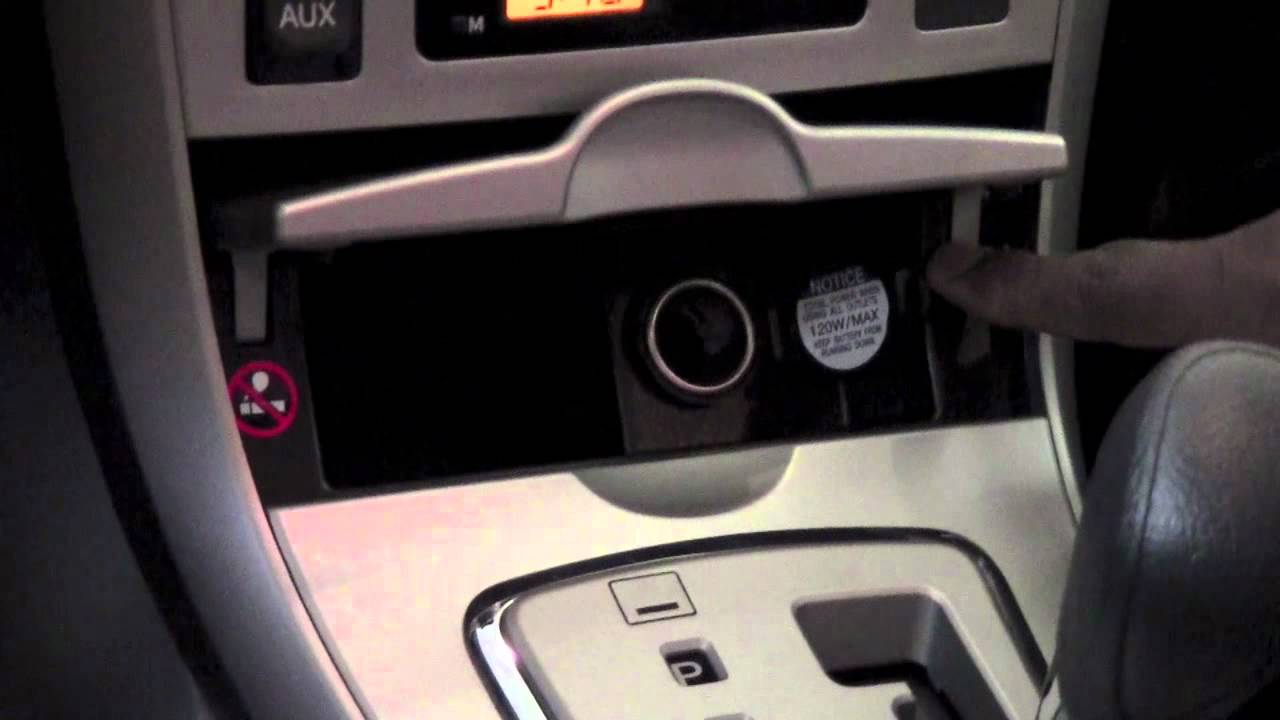 2011 toyota corolla auxiliary power outlet how to. Black Bedroom Furniture Sets. Home Design Ideas