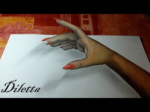 Howto draw a realistic hand in 3d come disegnare una for Disegno 3d free