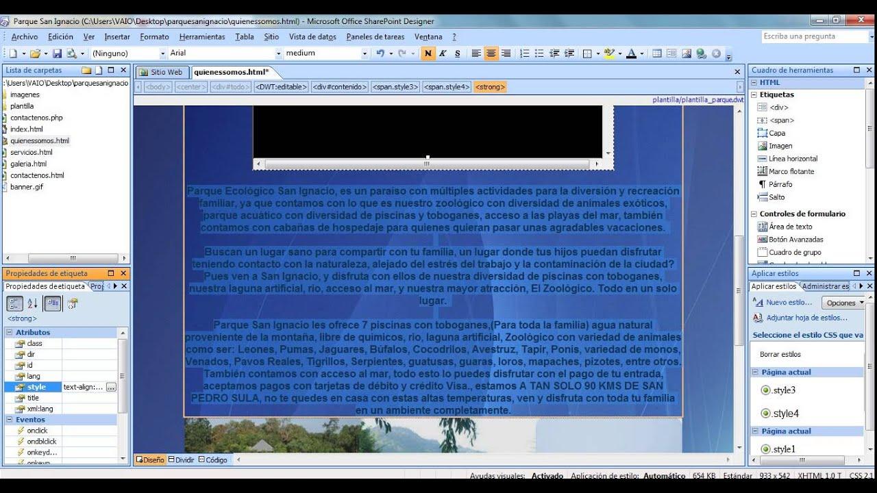 Creación Paginas web desde de una plantilla web dinamica- microsoft ...