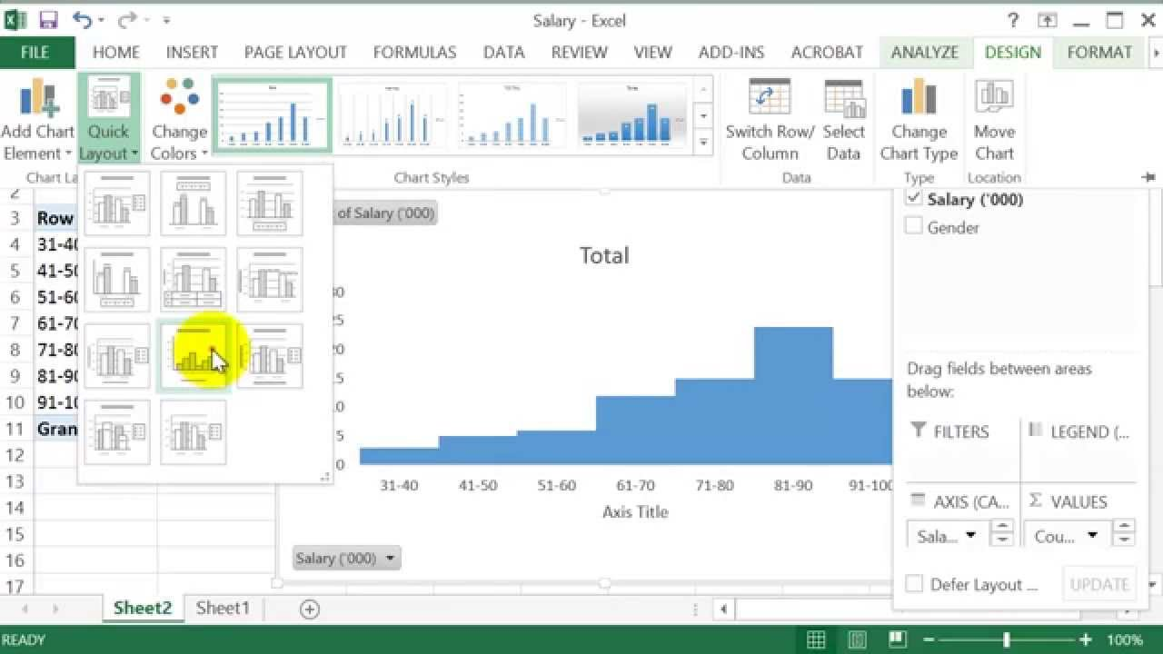 How to construct  frequency table  histogram in excel also youtube rh