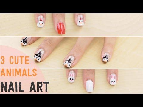 3 Cute Animal NAIL ART DESIGNS!