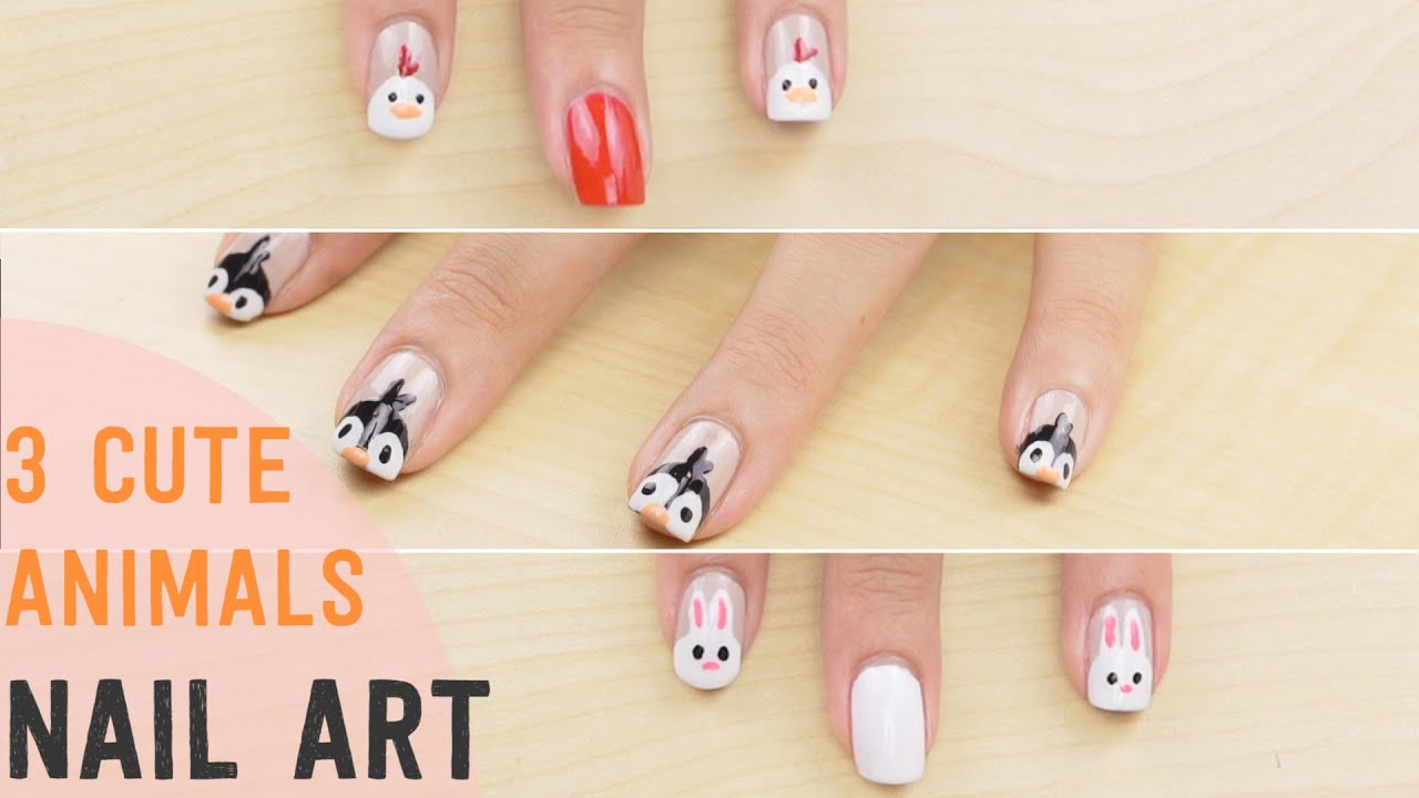 3 Cute Animal Nail Art Designs Youtube