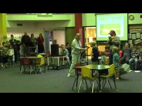 Boomer our 3 legged kitty - Story time at Cornelsen Elementary School