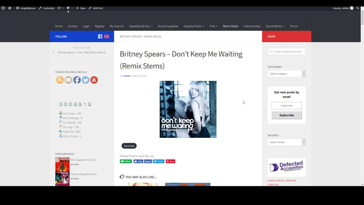 Britney Spears – Don't Keep Me Waiting Remix Stems