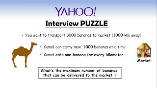 YAHOO Interview Puzzle || Camel and Bananas || Logic + Optimization