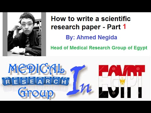 How to write a scientific research paper - part 1