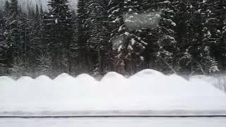 Зимний пейзаж из окна поезда. По дороге в Индию.