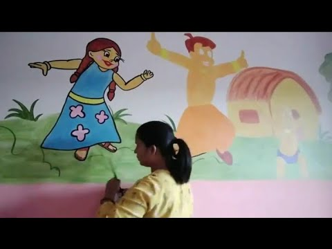 Chota bheem wall painting