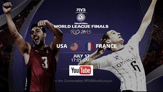 Live: USA vs France - FIVB Volleyball World League Final 2015(Lots more coverage on http://worldleague.2015.fivb.com/ Facebook: https://www.facebook.com/FIVB.InternationalVolleyballFederation Twitter: ..., 2015-07-17T19:40:56.000Z)