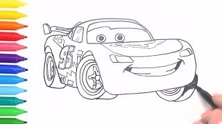 How to Draw & Color Cars 3 Lightning McQueen | Drawing for KIDS with Colored Markers