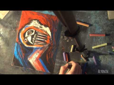 social hyperrealism, pastels on sandpaper, self-portrait,contemporary modern strange art