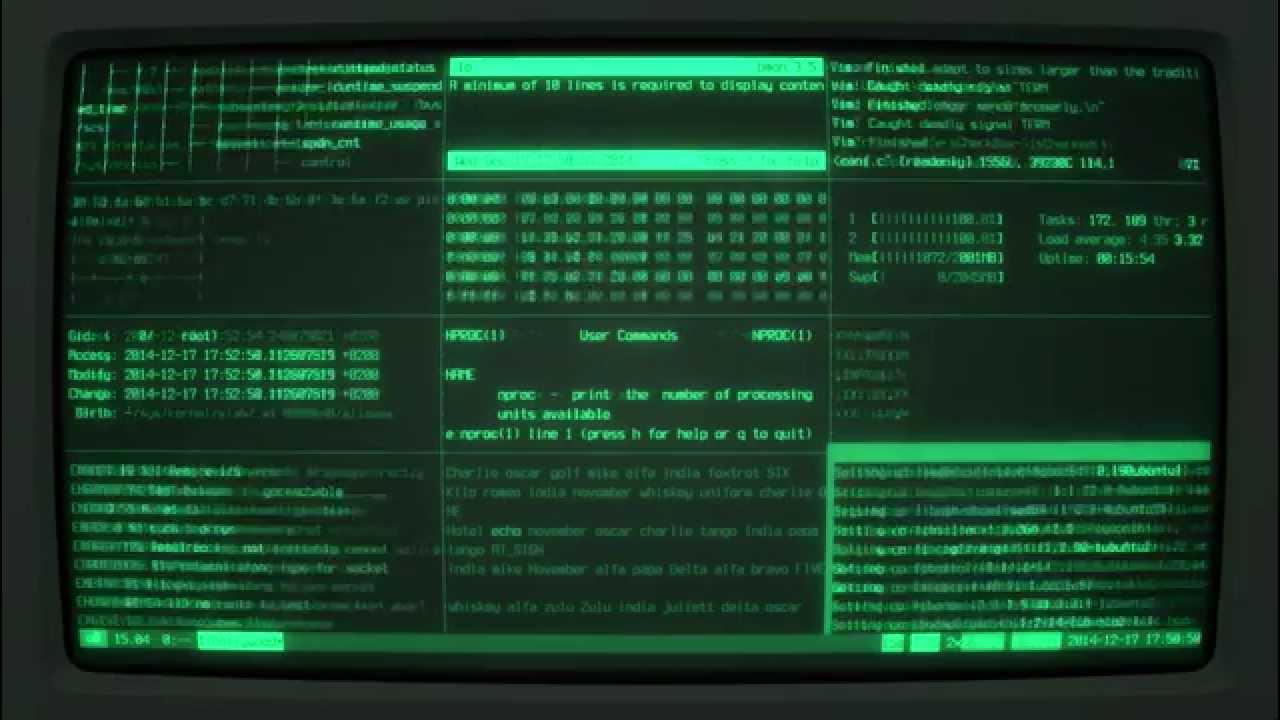 cyberpunk linux 3 - CRT cool-retro-term running Hollywood Technodrama
