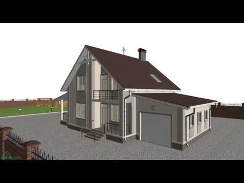 Проект компактного одноэтажного дома с мансардой «Уют-7» с гаражом   C-208-ТП