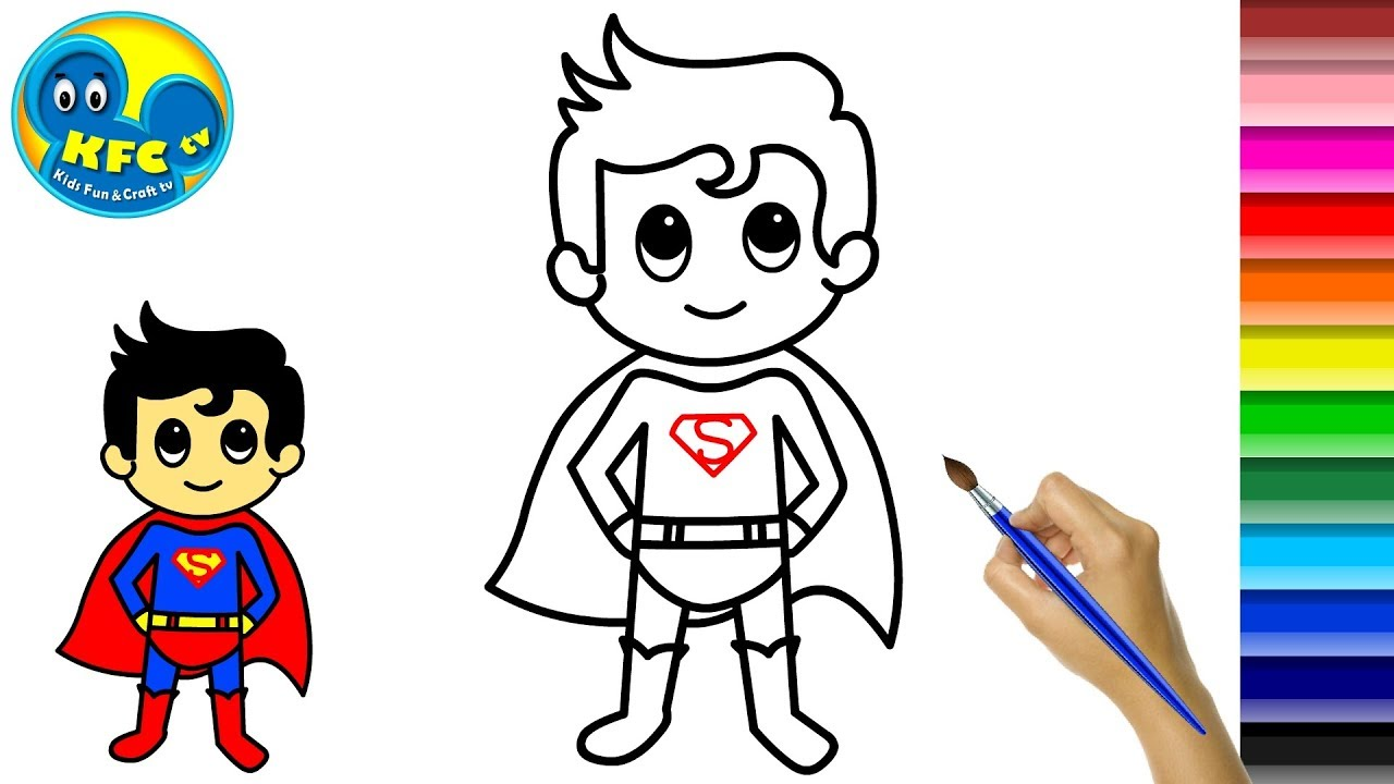 Superman Cartoon Drawing And Coloring Video For Kids Coloring Page Youtube