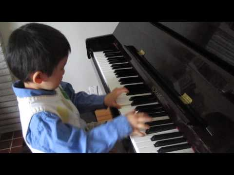 4 year old plays RCM Grade 3 piano Clowns by Dmitri Kabalevsky