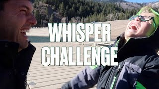HILARIOUS AND ADORABLE FATHER SON WHISPER CHALLENGE ON A FROZEN LAKE | SKIPPING ROCKS ON ICE