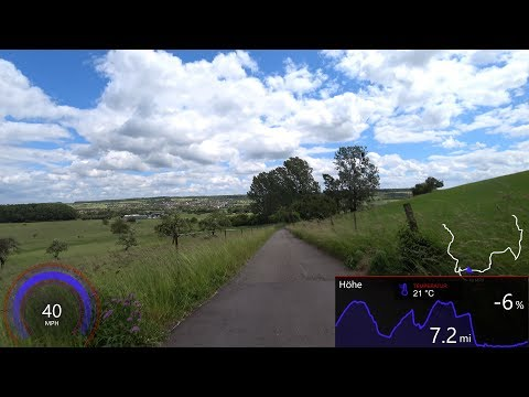 60 Minute Virtual Cycling Workout Germany with Mp/h Garmin Display Ultra HD Video
