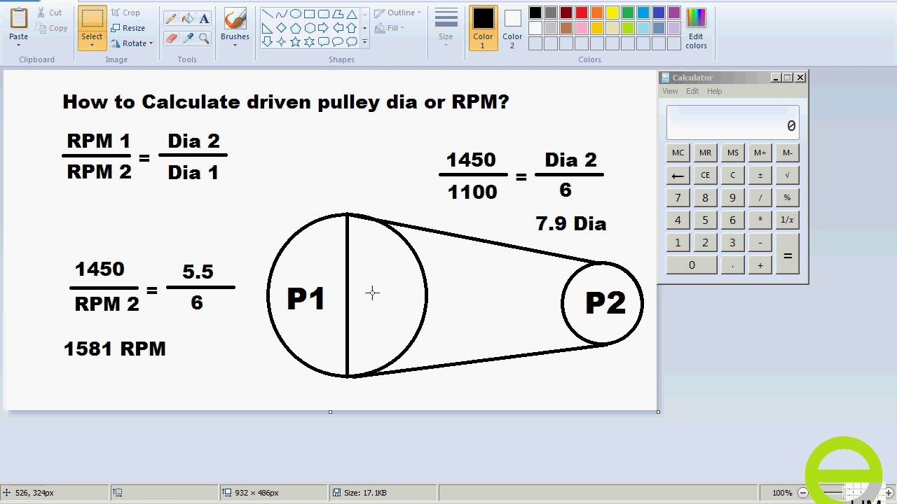 How to calculate driven pulley dia or rpm? (Urdu / Hindi)