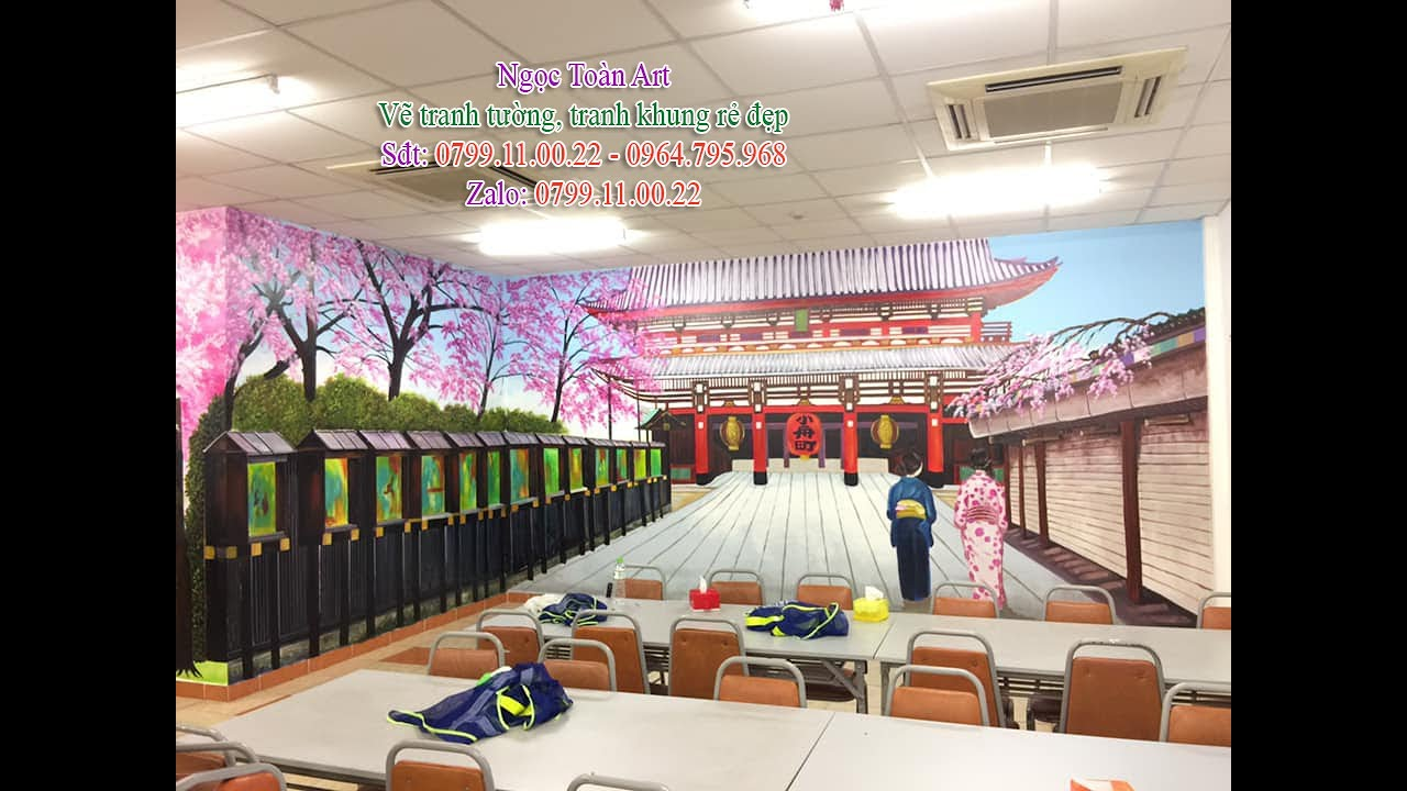Vẽ tranh tường phong cảnh 3D cho phòng ăn công ty Terumo ở Hà Nội