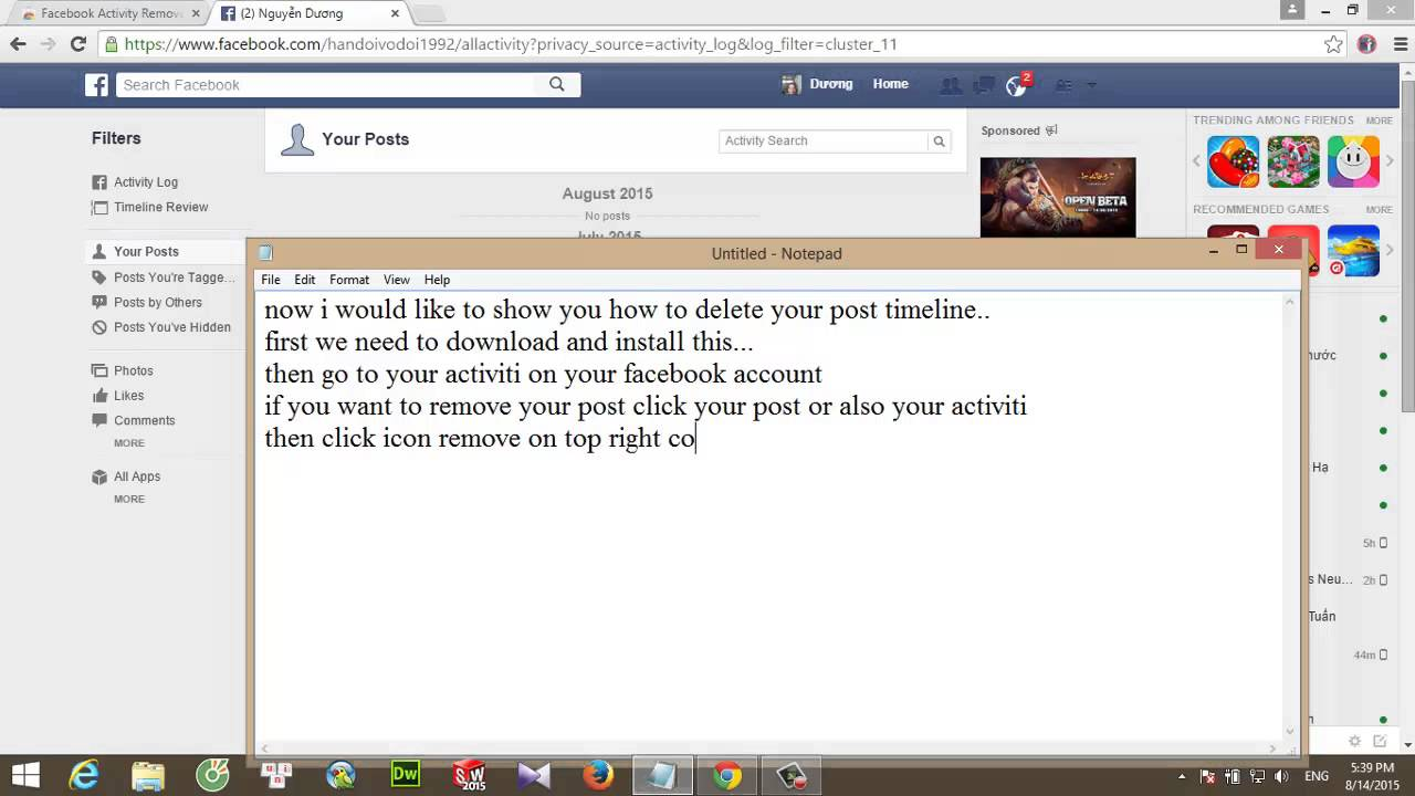 How to delete your activities log on facebook 2015 youtube how to delete your activities log on facebook 2015 ccuart Choice Image