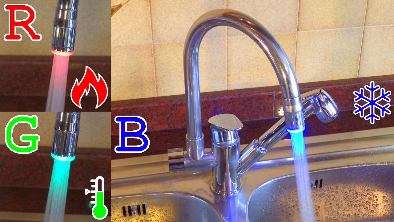ARUHE LED RGB Kitchen Sink Faucet with Hand Shower | Overview and ...