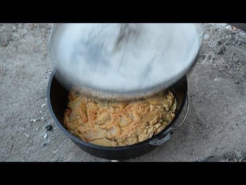 Dutch Oven Apple Crisp Over Campfire Coals