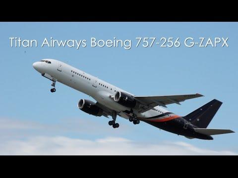 Titan Airways Boeing 757-256 - G-ZAPX taxi and takeoff at Stuttgart Airport