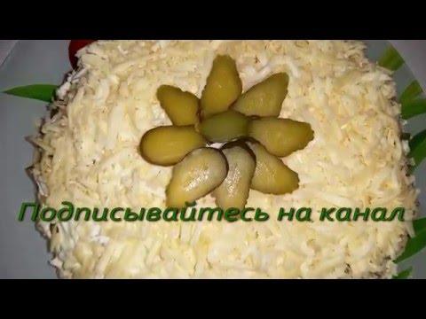 Салат с копчёным окорочком и картофелем