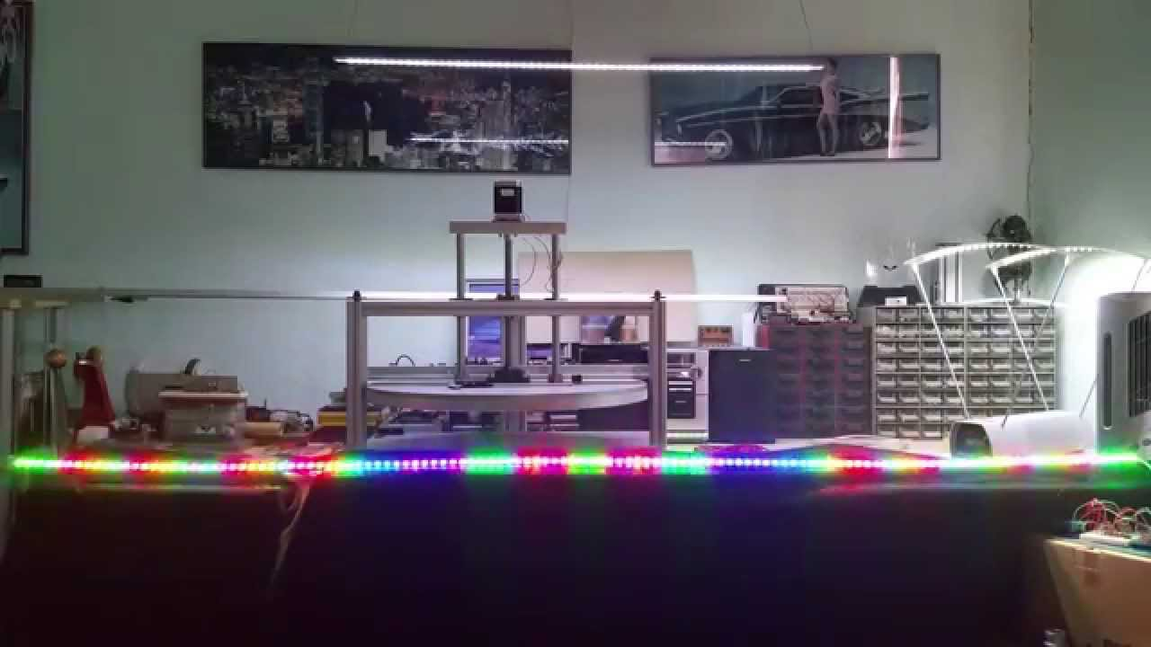 Audio Visualizer with Neopixel strip running from Arduino that reacts to  music 4K