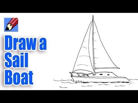 как нарисовать с одну парусную лодку