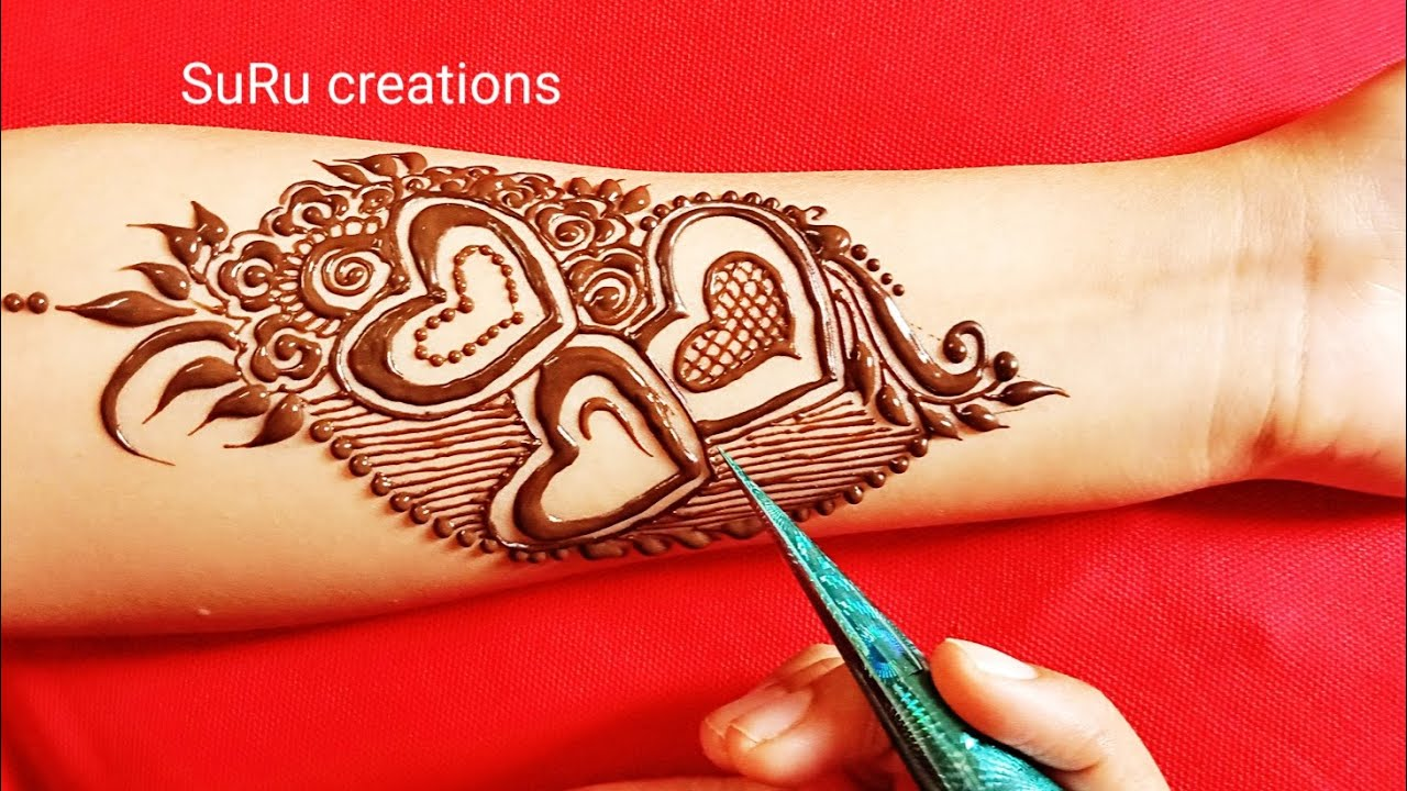 Attractive Heart Shape Mehndi Design With Paper For Beginners