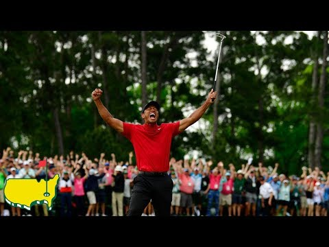 Tiger Woods Final Putt and Celebration at the 2019 Masters Tournament