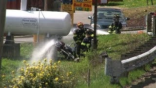 Motorcycle vs LPG Tank Accident / Hazmat Stewart