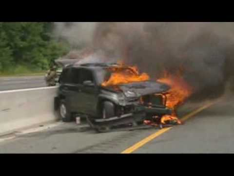 Suv Vehicle Fire Firefighter Mishap And Close Call Video Youtube