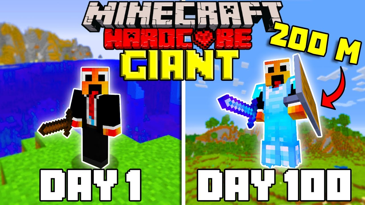 Download I Survived 100 Days as a GIANT in Hardcore Minecraft... Minecraft Hardcore 100 Days